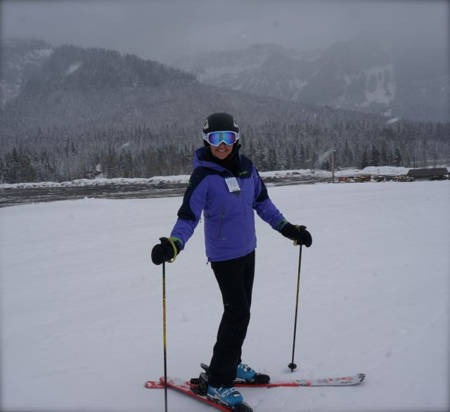 Angela skiing