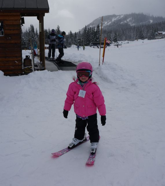 Christina skiing