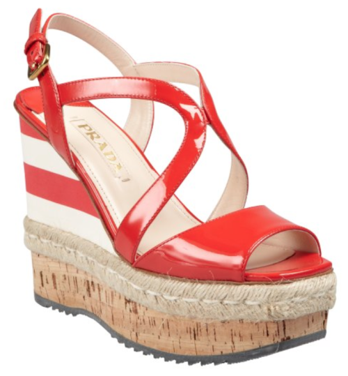 Prada Sport red patent wedges