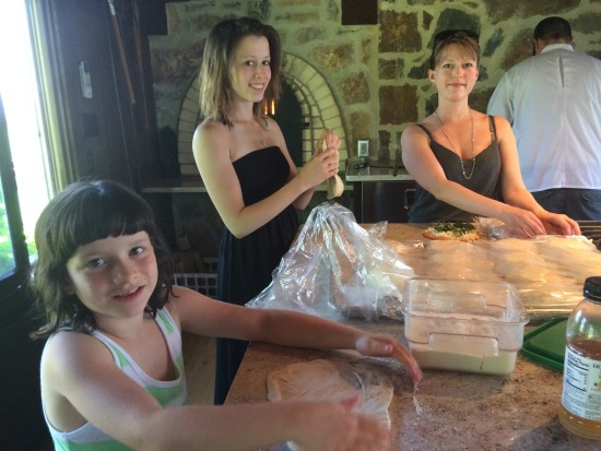 Lucia, Eve, Maya pizza making - Maria Rodale