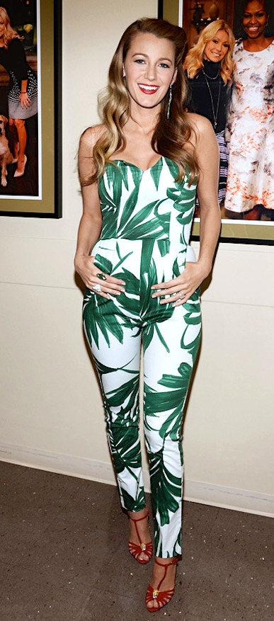 blake-lively-live-with-kelly-and-michael-sam-lavi-sleeveless-leaf-print-jumpsuit-charlotte-olumpia-clio-t-strap-sandals