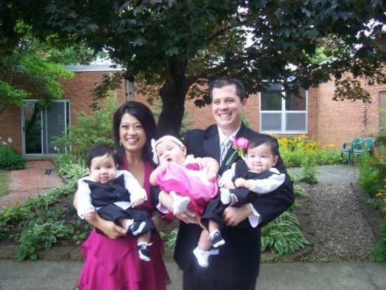 Tess-Rafols-family-wedding-with-triplets-as-babies